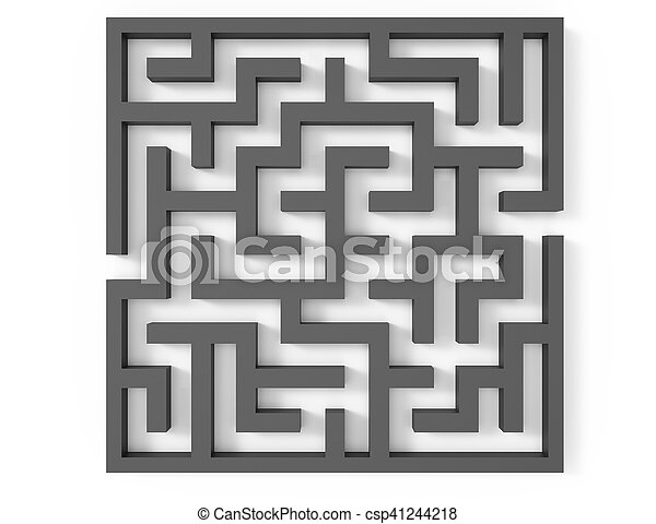 3d rendering maze, top view of grey square maze template,... stock ...