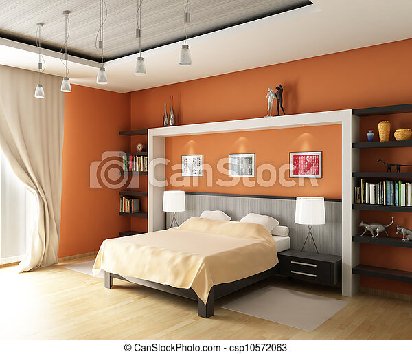 3d rendering. Modern bedroom with the big bed in pastel and orange tones and book shelfs  - csp10572063