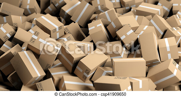 3d rendering moving boxes background - csp41909650