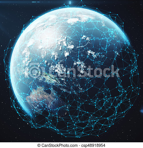 3D rendering Network and data exchange over planet earth in space. Connection lines Around Earth Globe. Global International Connectivity, Elements of this image furnished by NASA - csp48918954