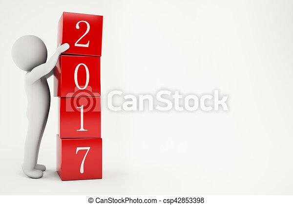 3D Rendering new year 2017 - csp42853398