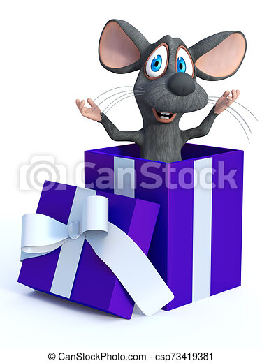 3d Rendering Of A Cartoon Mouse In A Gift Box 3d Rendering