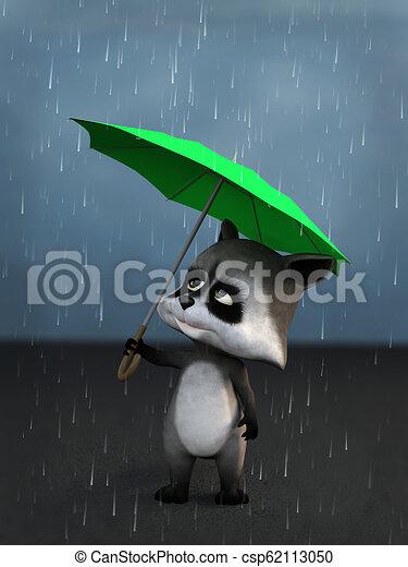 3ef9efda2dbd2 3d rendering of a cartoon raccoon in the rain. 3d rendering of a ...