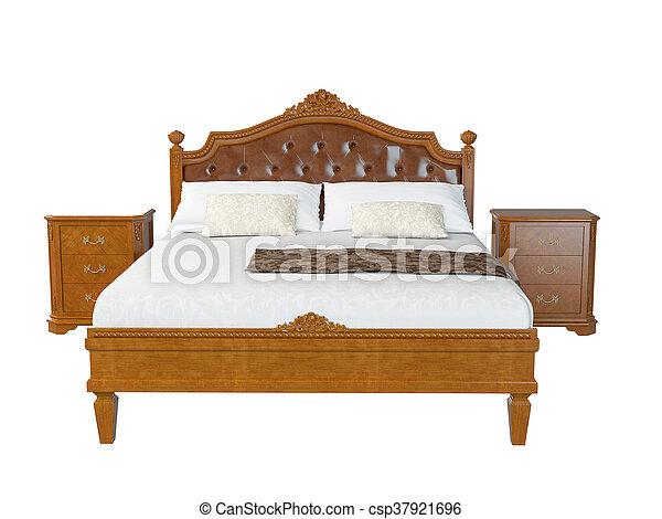 3D rendering of a classic bed - csp37921696