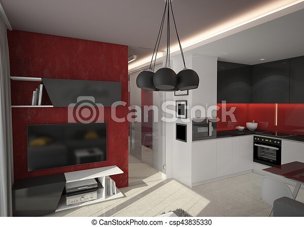 3d rendering of a living room design - csp43835330