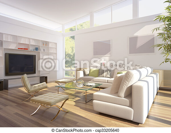 3D rendering of a living room - csp33205640