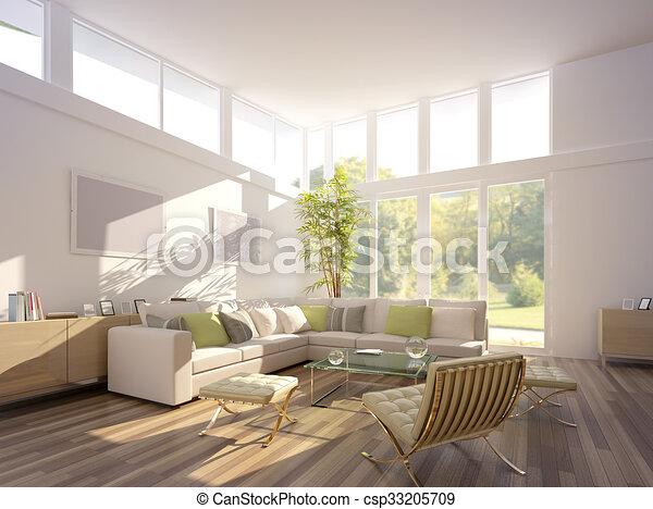3D rendering of a living room - csp33205709