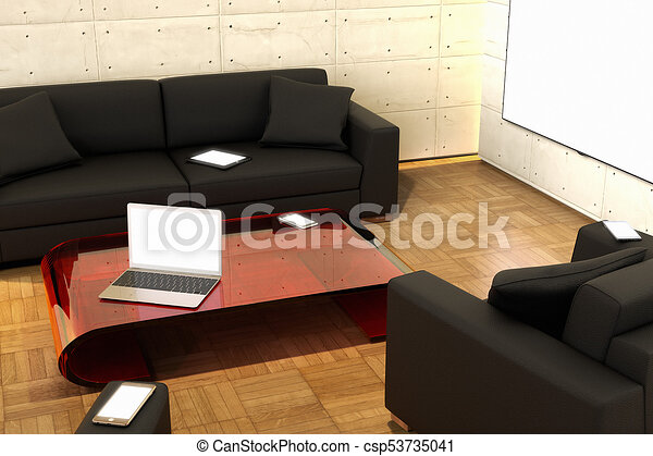 3D rendering of a living room - csp53735041