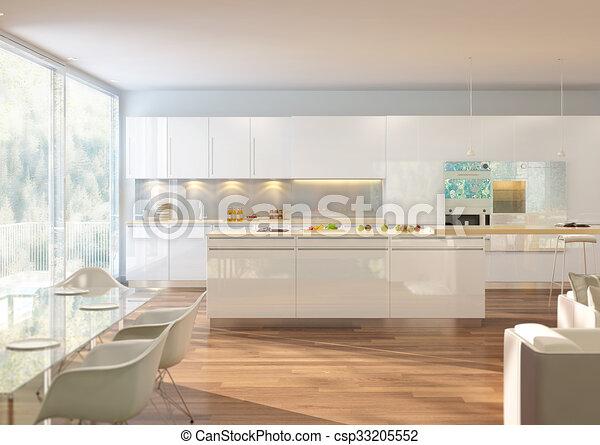 3D rendering of a living room - csp33205552