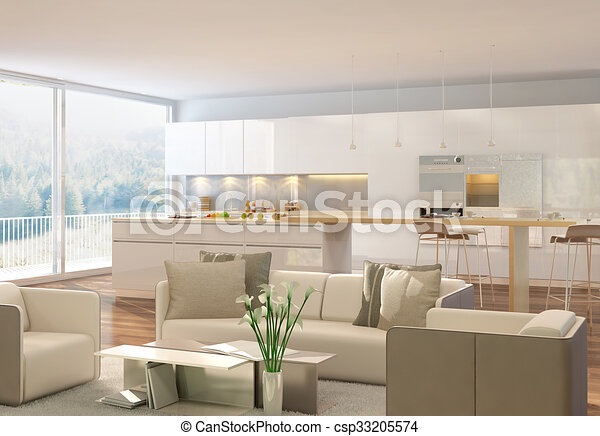 3D rendering of a living room - csp33205574