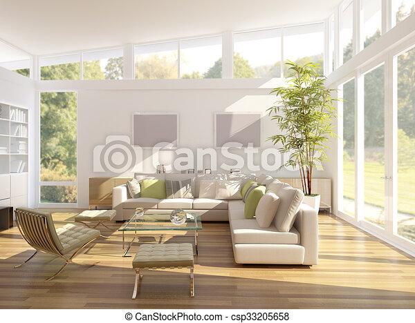 3D rendering of a living room - csp33205658