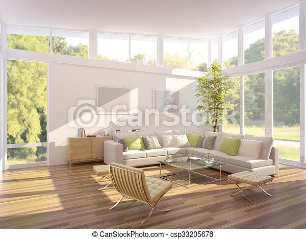 3D rendering of a living room - csp33205678