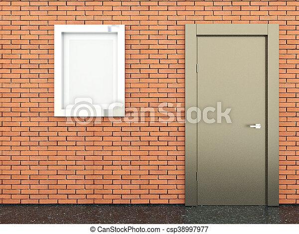3d rendering of a metal door - csp38997977