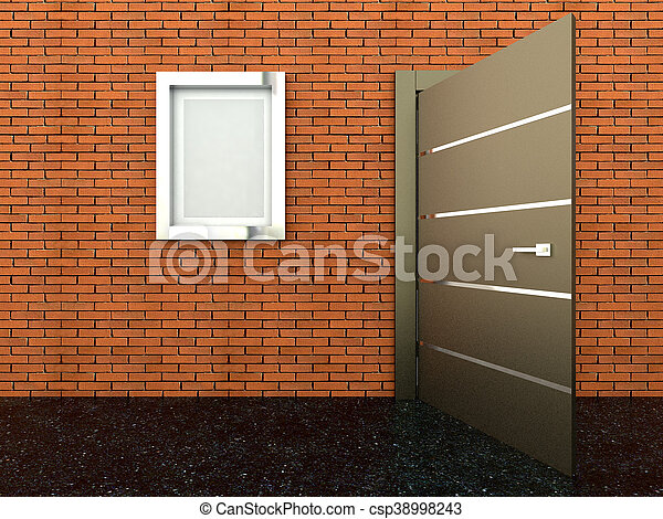 3d rendering of a metal door - csp38998243