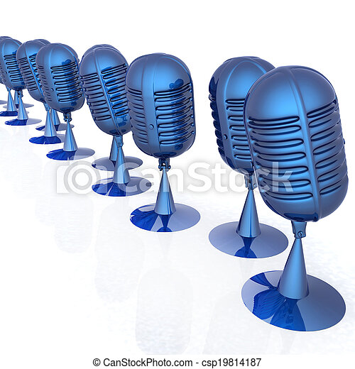 3d rendering of a microphones - csp19814187