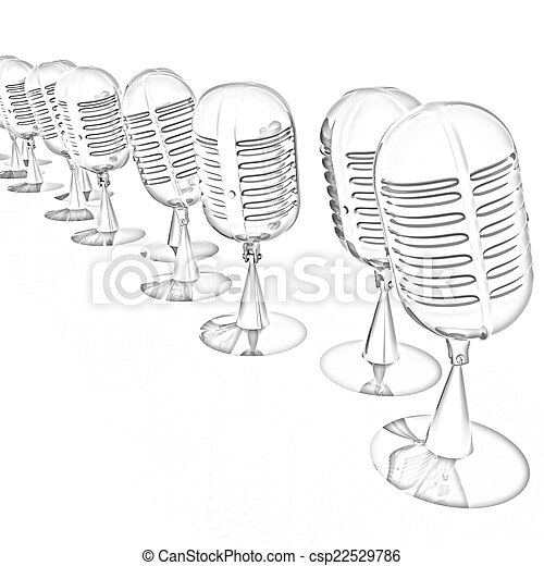 3d rendering of a microphones - csp22529786