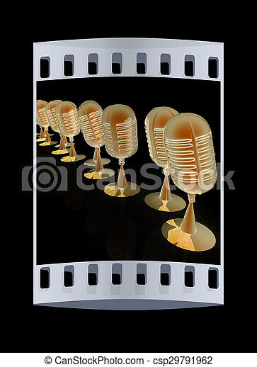 3d rendering of a microphones. The film strip - csp29791962