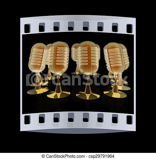 3d rendering of a microphones. The film strip - csp29791964