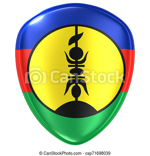 3d rendering of a New Caledonia flag icon. - csp71698039