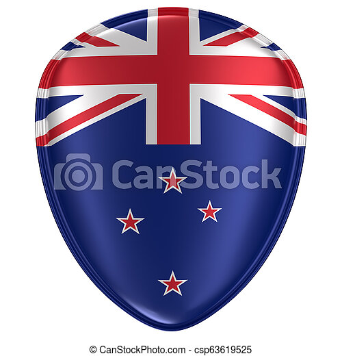 3d rendering of a New Zealand flag icon. - csp63619525