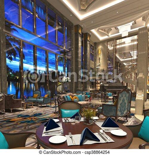 3D Rendering Of A Restaurant Interior Design   Csp38864254