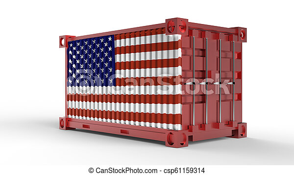 3d rendering of a shipping cargo container with USA Flag - csp61159314