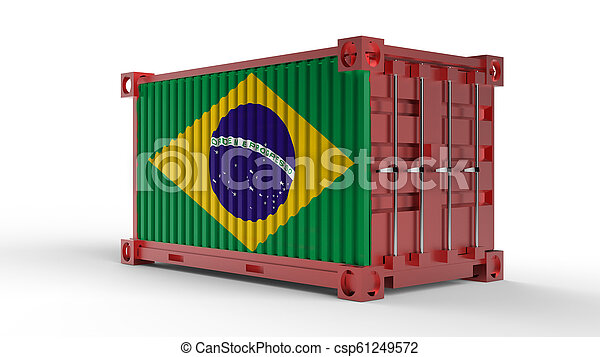 3d rendering of a shipping cargo container with Flag of Brazil - csp61249572