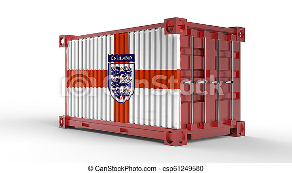 3d rendering of a shipping cargo container with England flag - csp61249580
