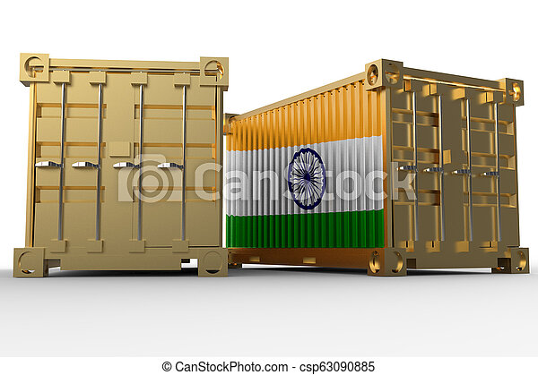3d rendering of a shipping cargo containers with Indian flag - csp63090885