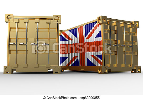 3d rendering of a shipping cargo containers with British flag - csp63090855