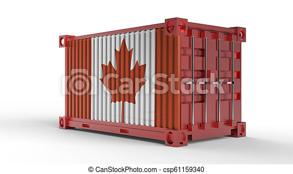 3d rendering of a shipping cargo container with canada flag - csp61159340