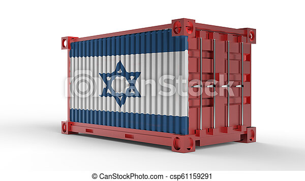 3d rendering of a shipping cargo container with Israel flag - csp61159291