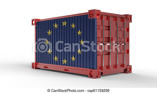 3d rendering of a shipping cargo container with European Union Flag - csp61159299
