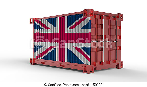 3d rendering of a shipping cargo container with British flag - csp61159300