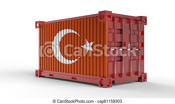 3d rendering of a shipping cargo container with Turkish flag. - csp61159303