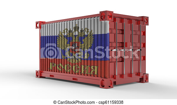 3d rendering of a shipping cargo container with Russian flag - csp61159338