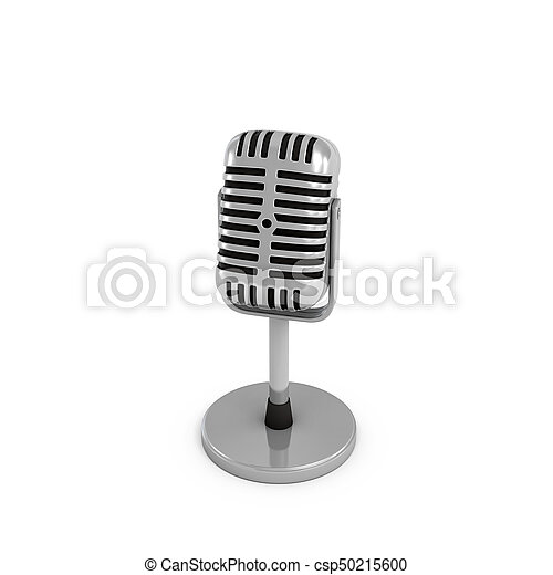 3d rendering of a silver metal retro tabletop microphone with a round base. - csp50215600