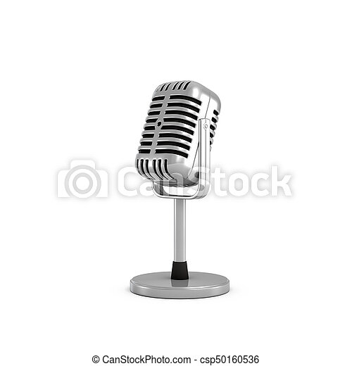 3d rendering of a silver metal retro tabletop microphone with a round base. - csp50160536