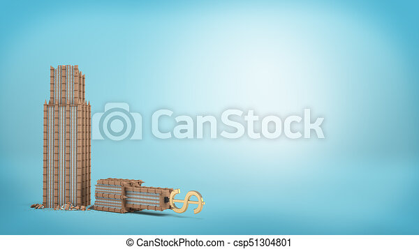 3d rendering of a tall business building with a golden dollar sign on the top stands broken in half on blue background. - csp51304801