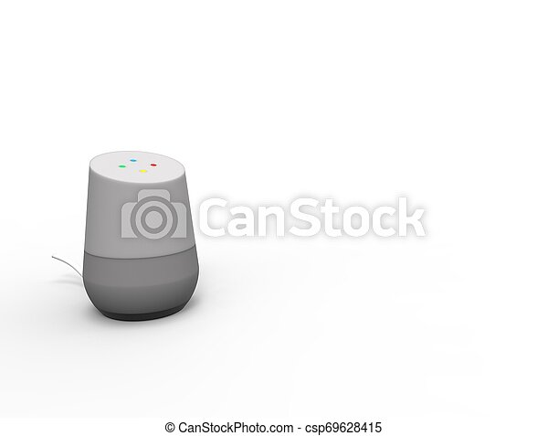 3D rendering of a virtual voice assistant isolated in white background. - csp69628415