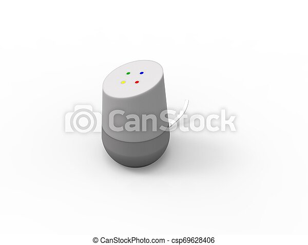 3D rendering of a virtual voice assistant isolated in white background. - csp69628406