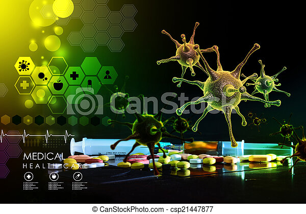 3d rendering of a virus - csp21447877