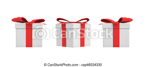3d rendering of a white square gift box with a red ribbon bow in three different side views. - csp46534330