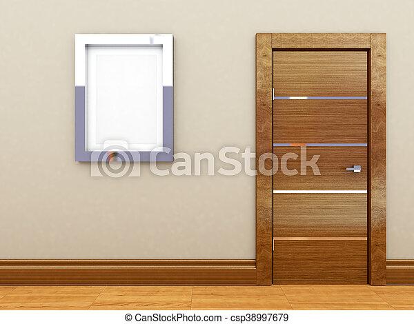3d rendering of a wooden door - csp38997679
