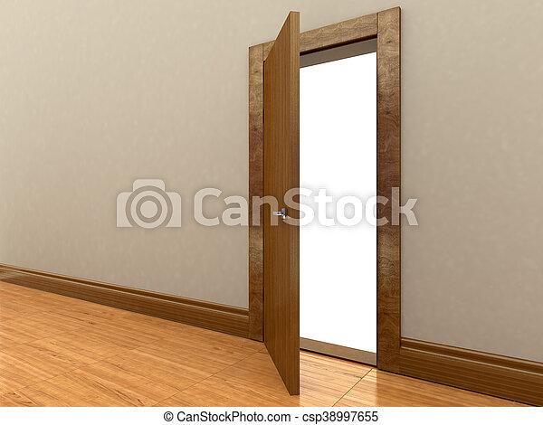 3d rendering of a wooden door - csp38997655