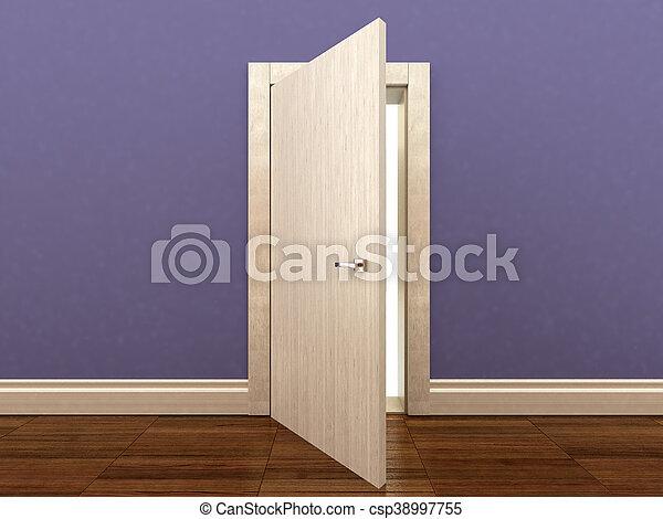 3d rendering of a wooden door - csp38997755