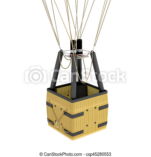 3d Rendering Of An Air Balloon Basket With Gas Burners Isolated On