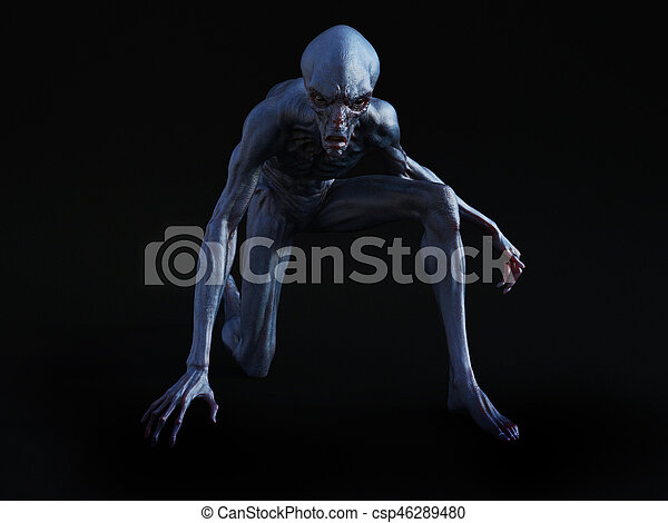 3D rendering of an alien creature crouching. - csp46289480