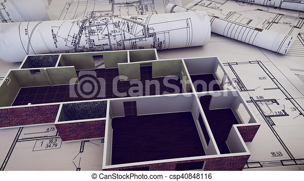 3d rendering of architect workplace architectural project 3d rendering of architect workplace architectural project blueprints blueprint rolls on plans malvernweather Gallery