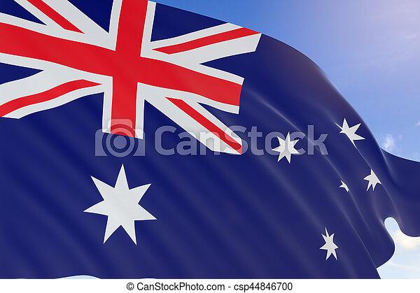3D rendering of Australia flag waving on blue sky background - csp44846700